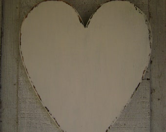 White large wooden heart rustic wall decor photo props - painted white