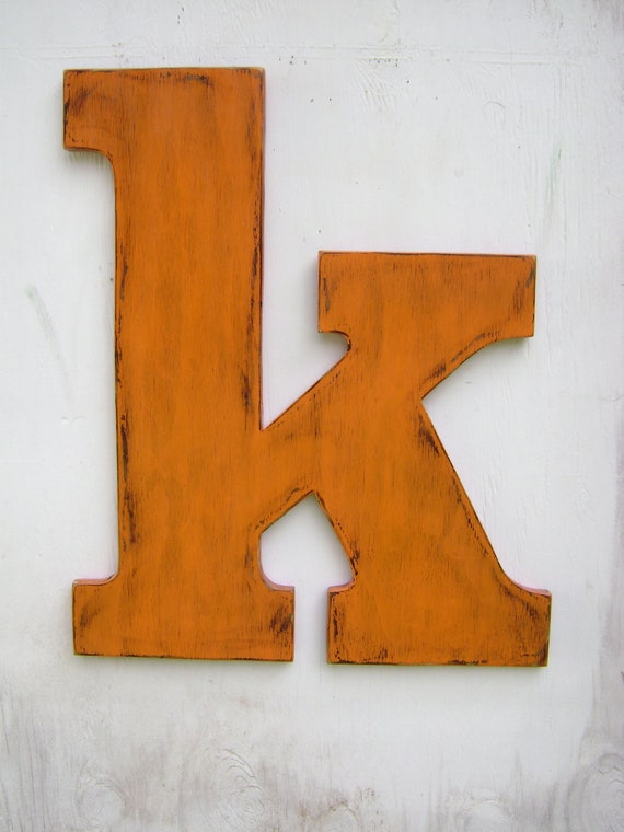 Items similar to large wooden lowercase letter quotkquot wedding for Large letter k wall decor