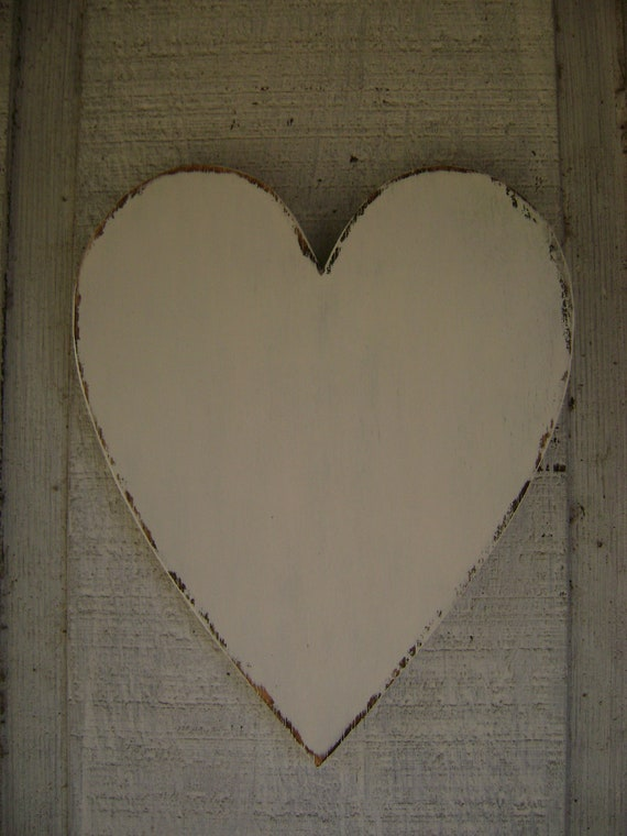 Items similar to white large wooden heart rustic wall for Wooden heart wall decor