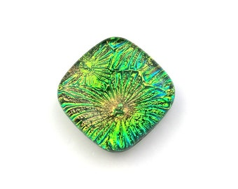 Green and Brown Fused Dichroic Glass Pendant Cabochon Handmade SRA
