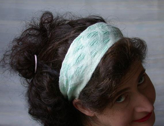 Greek Head Band, Nuno Felted Headband, Womans Headband,  Mint Green Headband, FREE SHIPPING
