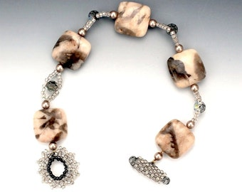 Beaded Bracelet with Stone, Swarovski Crystal, Pearl, and Seed Beads in Tan and Gray with Beaded Toggle Clasp