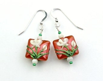 Salmon, Cream, and Green Glass Flower Bead Earrings with Shell and Seed Beads, Sterling Silver