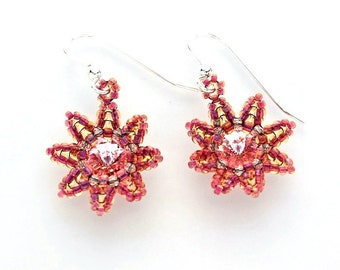 Seed Bead Flower Earrings in Pink and Amber with Swarovski Crystal Rivolis and Sterling Silver Findings