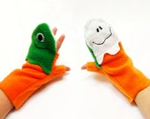 Halloween Green Monster Ghost Glittens Convertible Mittens Gloves for Children.
