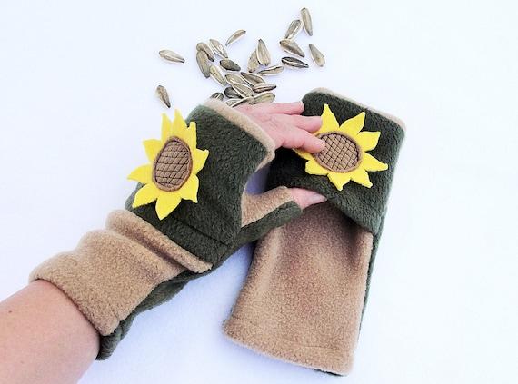 Typist Transcriber Fingerless Gloves with Hand Warmers Pockets Sunflower