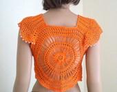 Crochet Sunshine Bolero, crochet summer bolero, womens clothing, womens bloero, girls bolero,  cotton bolero, in any colors
