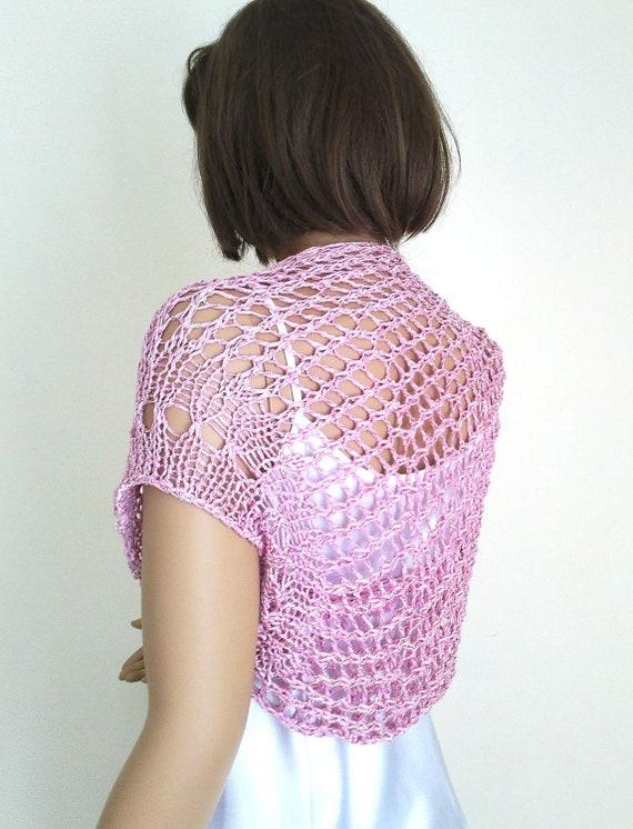 Knitting bambu bolero, summer shrug, in pink, gift for her, mothers day gift
