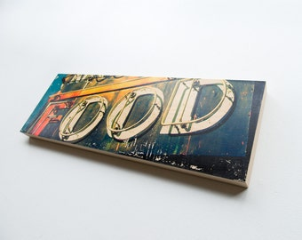 """Food Sign Limited Edition Fine Art Photo Transfer on 10""""x30"""" Wood Panel by Patrick Lajoie"""
