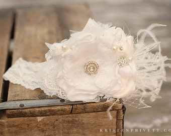 Vintage Lux White Handmade Flower Headband, Feathers, Handrolled silk rosettes, pearls, Crystals veiling