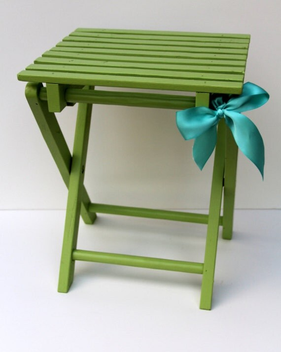 Painted Lime Green Stand - photo prop, plant stand, garden