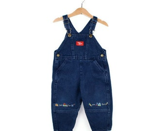 Vintage OshKosh Overalls Construction Theme Size 2T