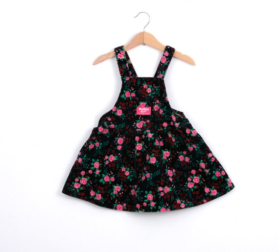 Vintage OshKosh Overall Dress Skirtall in Black with Pink Roses Corduroy 2T