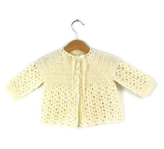 Vintage Baby Sweater, Hand Crocheted in Creamy White
