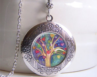 Locket Necklace, Tree Of Life Locket, Silver Photo Locket, Tree Necklace, Vintage Style Locket