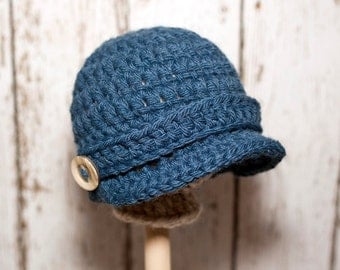 Crochet Newsboy baby hat with strap and buttons - Pick your color - Photography Prop - Pick your size - Ready to ship