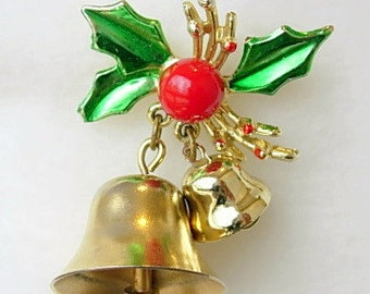 Jingle Bells Brooch Vintage Ringing Bell Holly Christmas Pin Green Red Enamel on Gold Tone Metal Red Bead Rings Working Xmas Gift Present