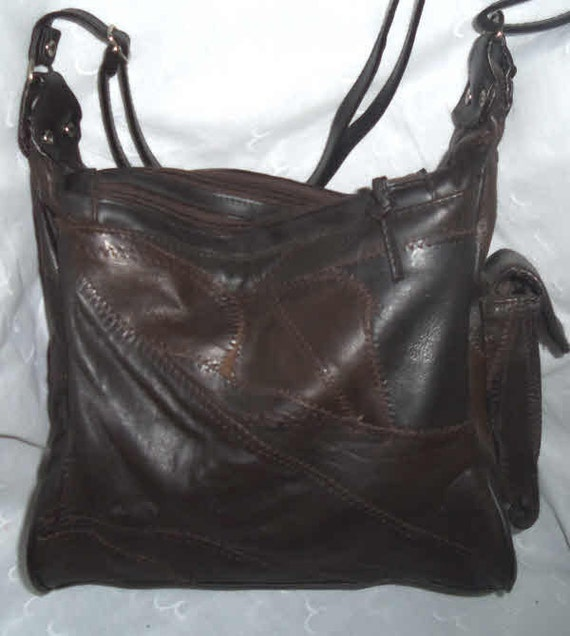 Brown Leather Patchwork 70s Vintage Purse Shoulder Bag Adjustable Strap