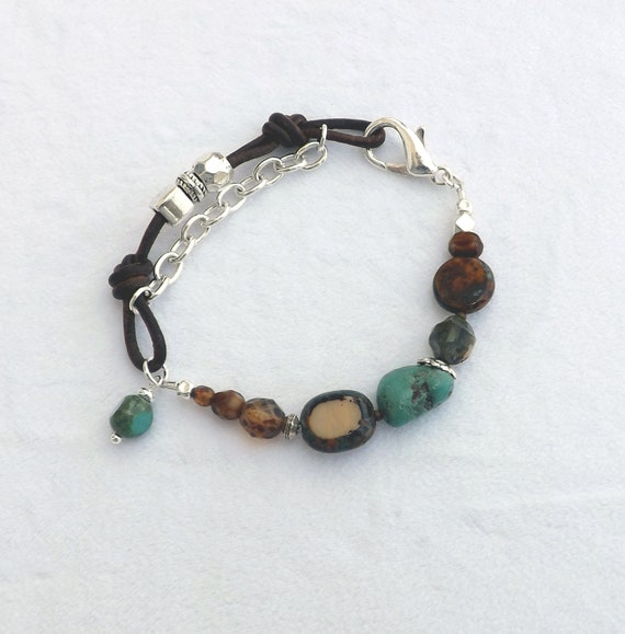 Turquoise and Brown Leather Bracelet with Silver Accents/Southwest/Gift