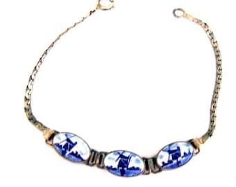 Vintage Bracelet Delft Tiles 7 inch