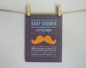 Moustache Baby Shower Printable Invitations - Gray, Orange & Turquoise - Unique, Modern Style