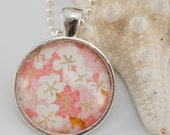 Glass tile pendant - pink and gold by blue sunday jewellery
