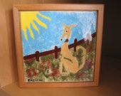Greyhound Ceramic Box Tile Art
