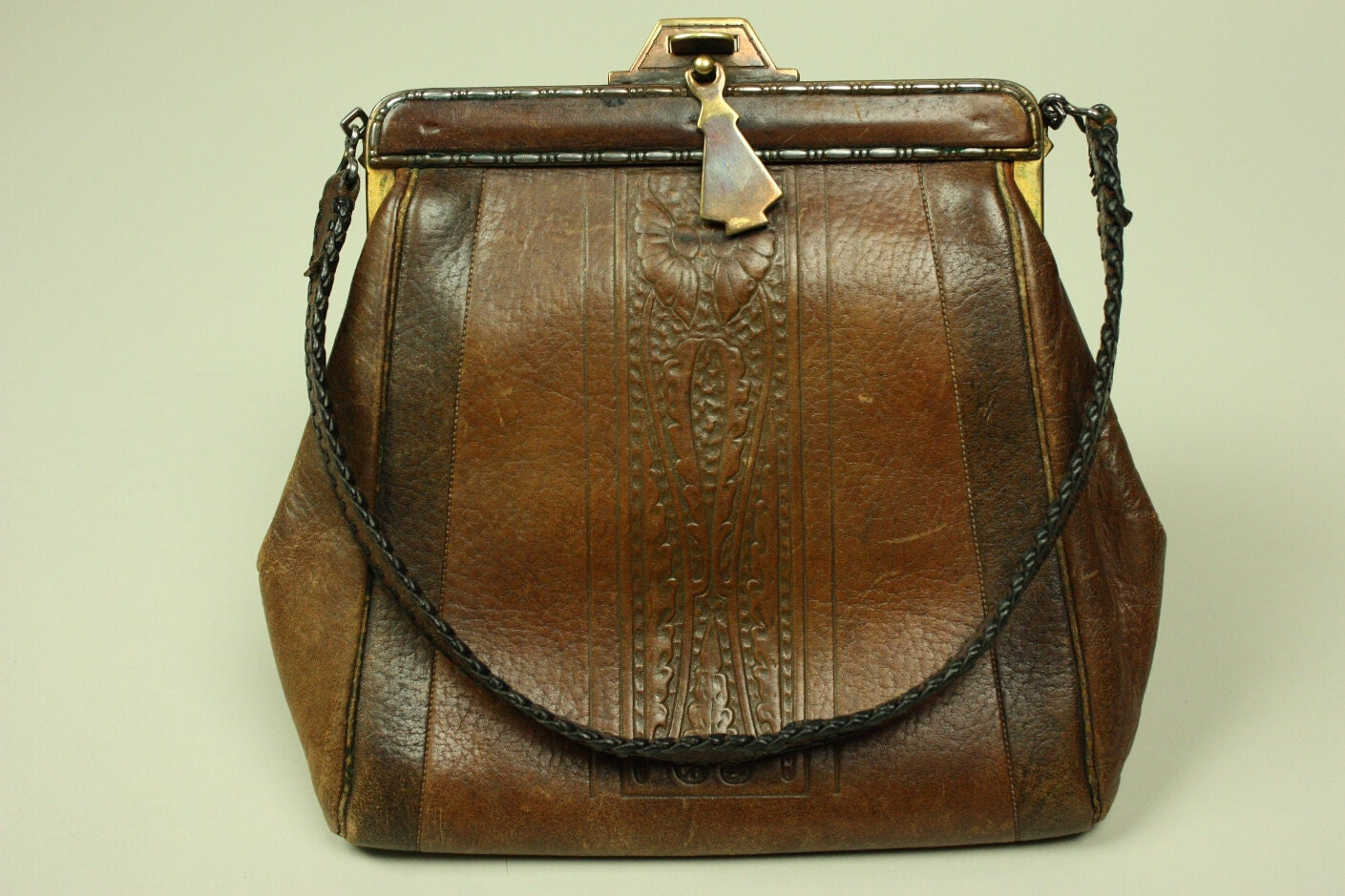 Vintage arts crafts handbag 1920s 1930s brown tooled leather for Arts and crafts tote bags