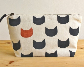 Midnight cats copper pouch - screen printed and handmade