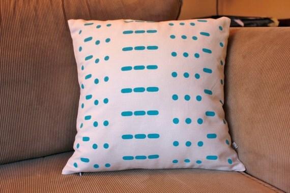 Love in morse code cushion cover - screen printed and handmade