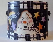 Decorative Tole Painted GHOSTLY BUCKET
