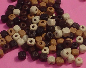 200 Wooden Cube Beads 4 mm, Wooden Bead, Jewelry Making, Jewelry Art, Spacers,Supplies,Commercial,Bead Collector,Craft Supply,Eclectic,OOAK