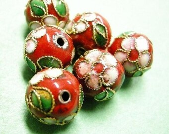 6pc 12mm round Cloisonne beads-2316