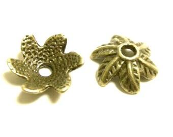 12pc 10mm antique bronze metal bead cap-6128