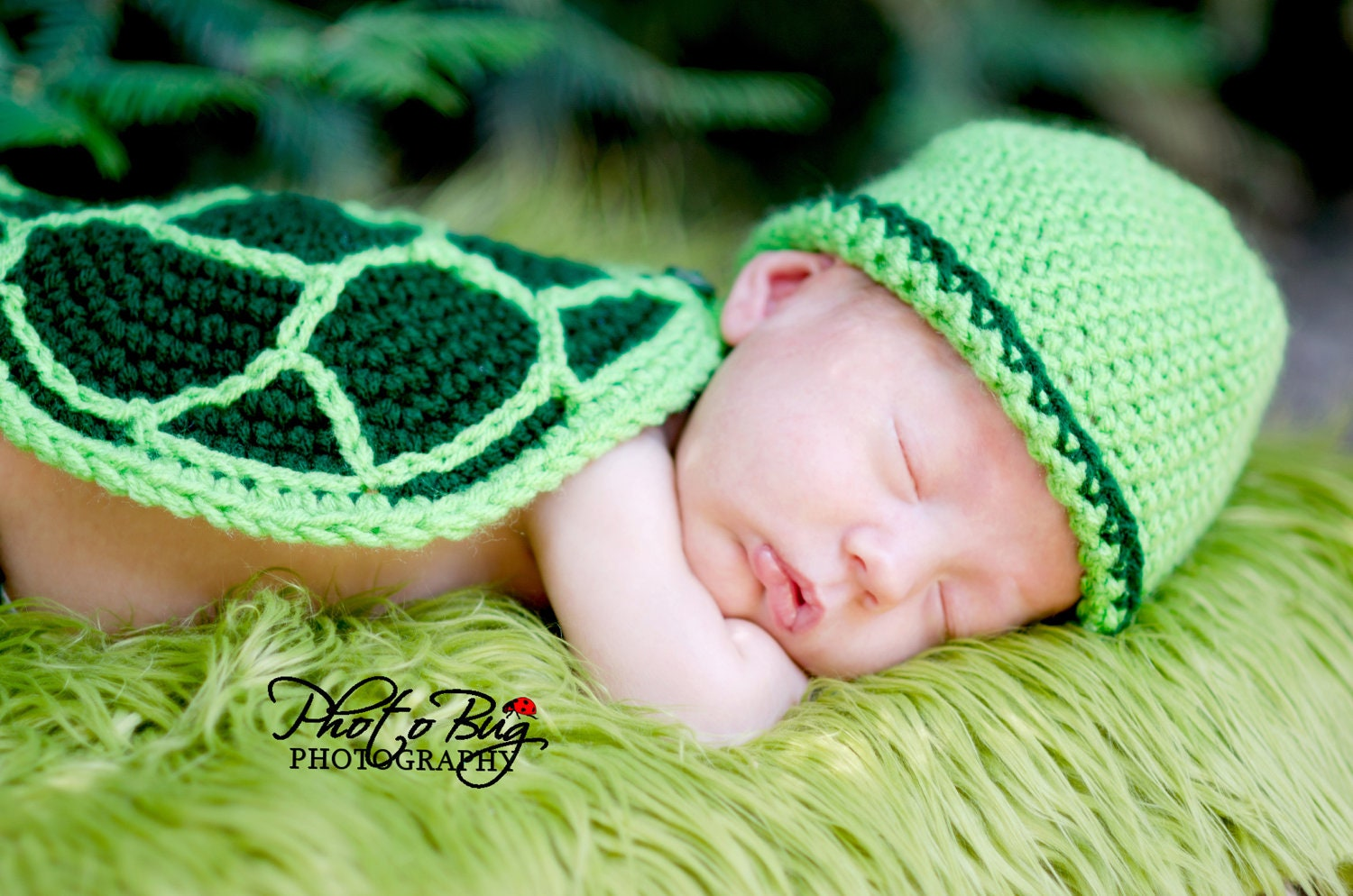 Crochet Baby Turtle Hat And Shell Pattern Free : Instant Download PDF Turtle Hat Diaper Cover Tail and Shell