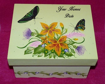Custom Decorative Wedding Keepsake Box Hand Painted Wood Box Personalized Wooden Wedding Chest Card Box Butterfly Bridal Shower Gift