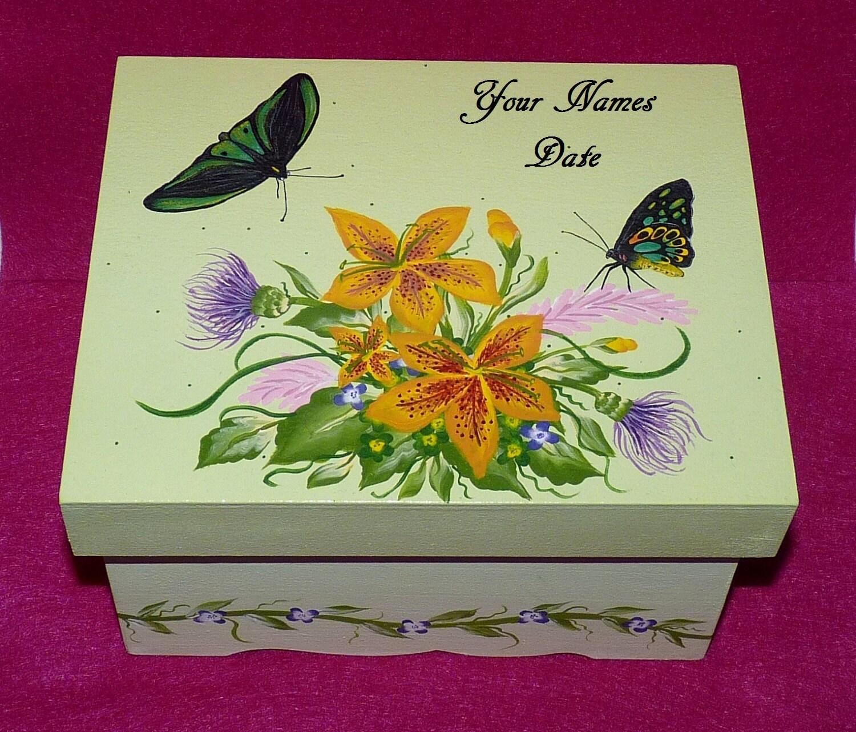 Decorative Keepsake Box: Custom Decorative Wedding Keepsake Box Hand Painted Wood Box