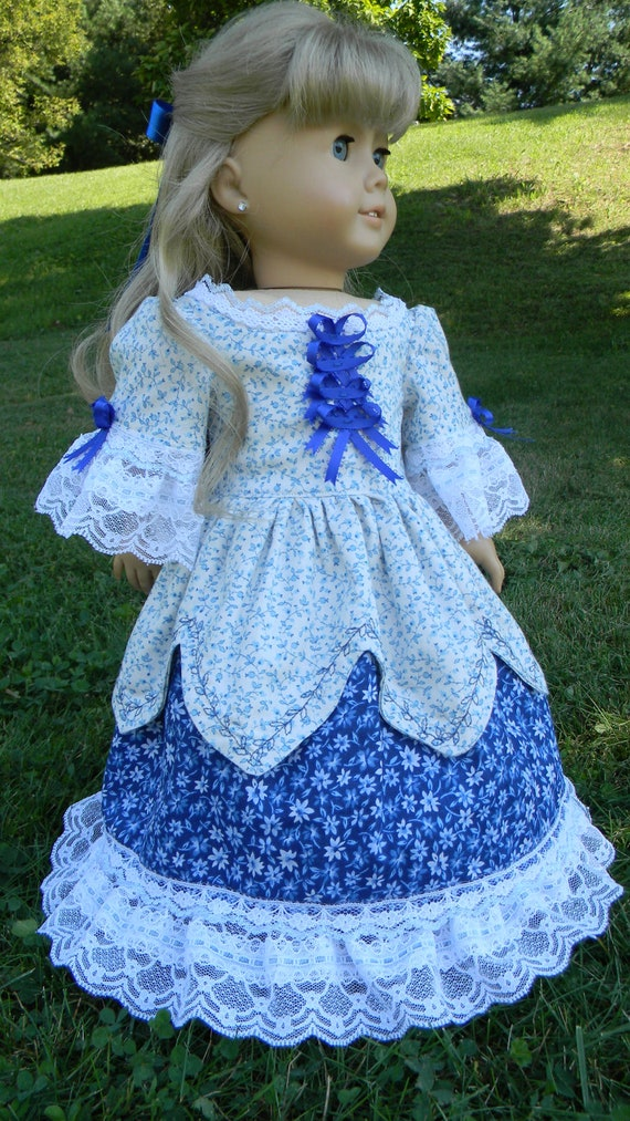 "18"" Doll Gown  Shades of Blue floral and lace For American Girl or other 18 inch dolls 1800 to 1860"
