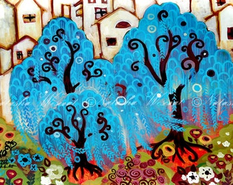 BLUE Folk Art  Print Willow City TREE by Natasha Wescoat 8x10 12x16 13x19 16x20