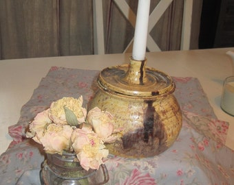 SALE - FaBuLoUs Handmade Ceramic Candle Holder and Treasure Container - Pottery Rich Gold and Brown
