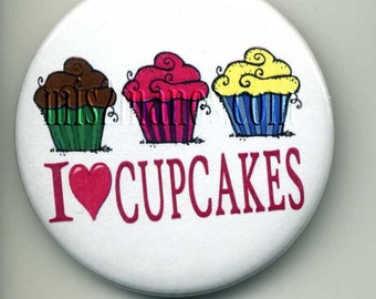 I Love Cupcakes Buttons Personalized Buttons Custom Buttons and Pins