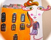 abstract art  /mixed media / original painting/ buildings/  handmade/ women art/ resort/ cafe art, city life,  lady character, women art