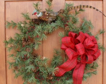 Christmas Wreath Country Pheasant Hand Tied Bow