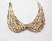 Collar Necklace-Peter Pan Necklace- Gold Yellow  Chain  Rhinestone Embroidered-  Col Claudine