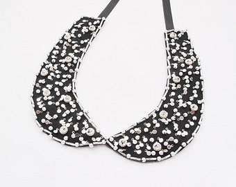 Black  Collar,  Necklace, Black and Silver Gray, Pearls and Embroidered -Col Claudine