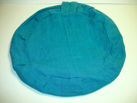 Zafu Cushion in Carribbean Blue Linen Fabric. Cover Only. Made by a Small Business in the USA