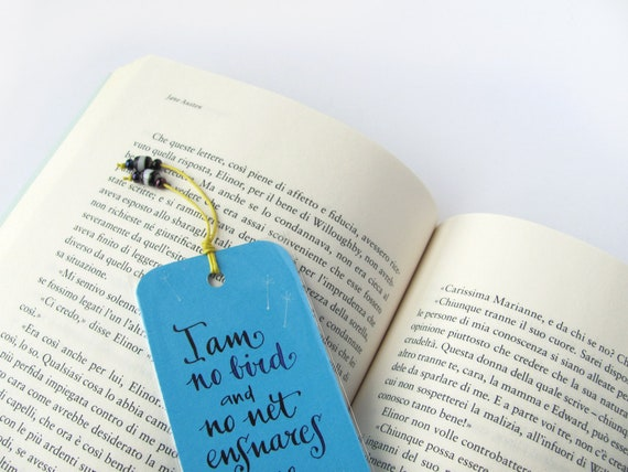 Jane Eyre quotation sky blue bookmark, with handwritten calligraphy - I am no bird