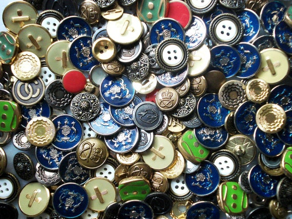 Full Metal Jackpot Button Grab Bag - 300+ Metal Buttons - Enamel and Metal Buttons - Blue and Green Enamel Buttons - Mixed Metal Buttons