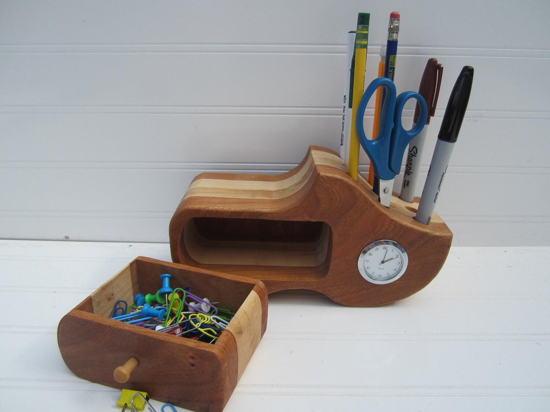 Wooden Shoe Pencil Holder Desk Organizer Desk Clock By