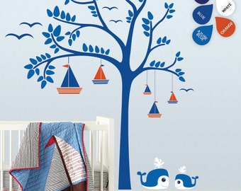 "Baby Nursery Wall Decals - Sailboats Tree Wall Decal - Tree Wall Decals - Large: approx 88"" x 75"" - K005"